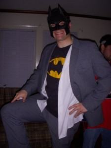 """the ever famous """"Bruce Wayne forgot to change out of costume this morning"""" look!"""